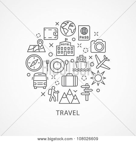 Travel illustration with icons in linear style
