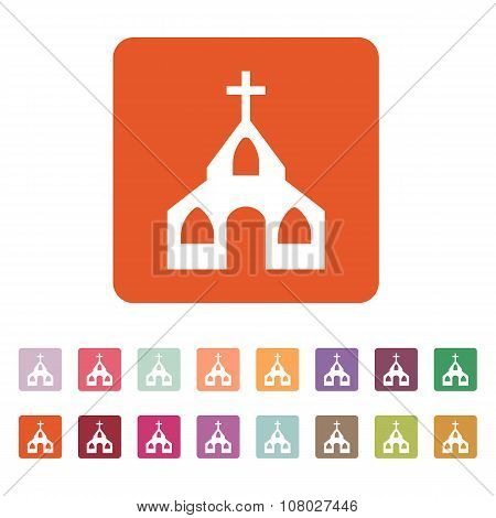 The church icon. Christian and god, catholic, faith symbol. Flat