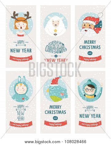 Vector christmas cards collection