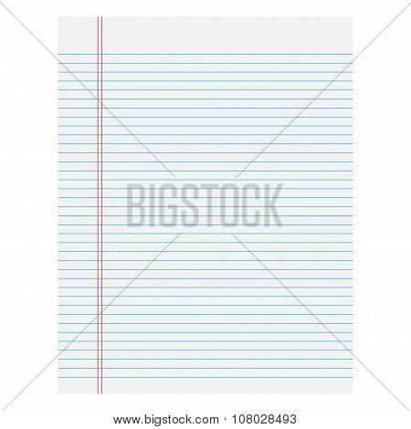 Notebook Paper With Lines On A White Background