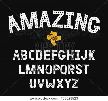 Vector Hand Drawn Alphabet with Vintage letters