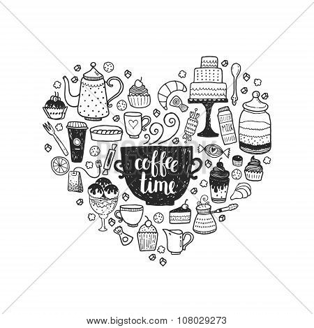 Hand drawn coffee time illustration