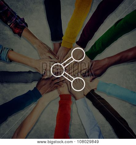 Share Connection Technology Sharing Global Communications Concept