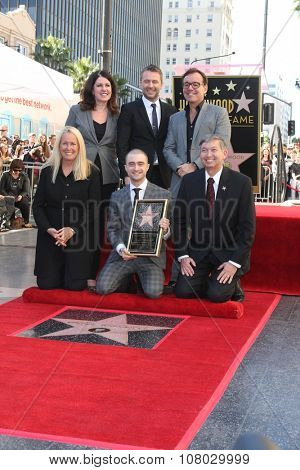 LOS ANGELES - NOV 12:  Chris Hardwick, Chris Columbus, Daniel Radcliffe, Leron Gubler, at the Daniel Radcliffe WOF Ceremony at the Hollywood Walk of Fame on November 12, 2015 in Los Angeles, CA
