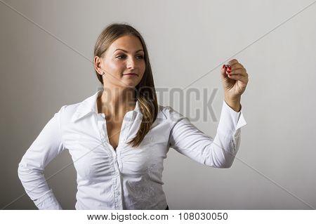 Beautiful Girl Writing On Transparent Surface