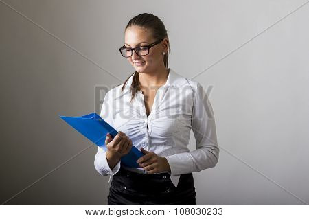 Beautiful Girl Holding Blue Folder