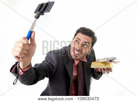Businessman Taking Selfie Photo With Mobile Phone Camera And Stick Posing Happy And Successful With