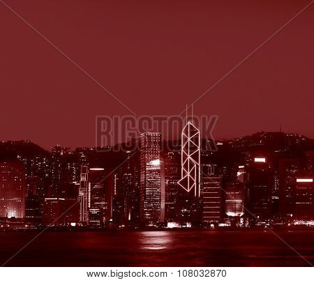 Hong Kong Panorama Night Victoria Harbor Concept
