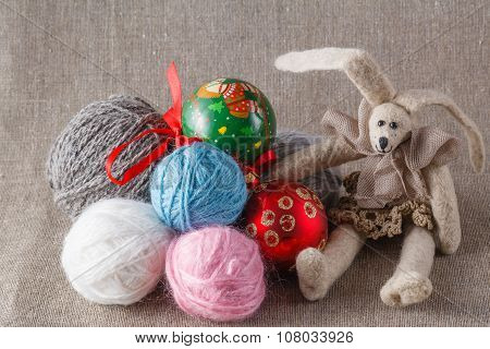 Tilda Rabbit Doll With Clew And Cristmas Ball