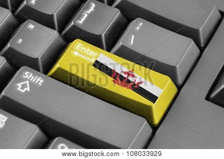 Enter Button With Brunei Flag