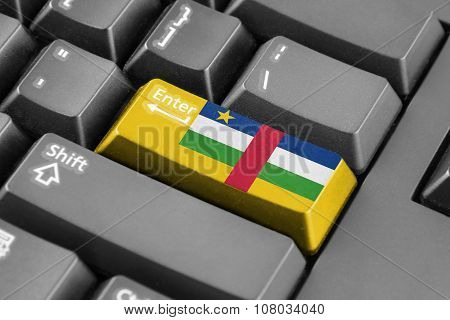 Enter Button With Central African Republic Flag