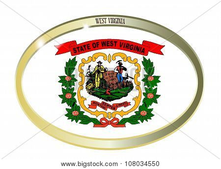 West Virginia State Flag Oval Button