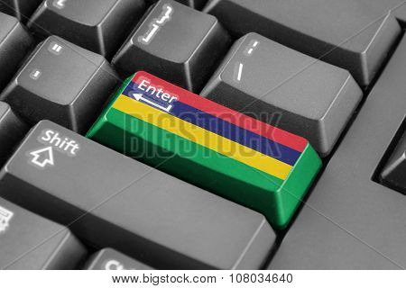Enter Button With Mauritius Flag