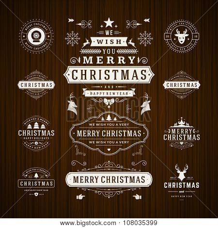 Christmas Decorations Vector Design Elements. Typographic elements