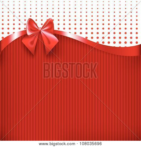 Red Ribbon And Bow On Red Paper Texture Background