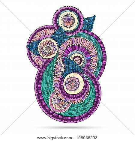 Henna Paisley Mehndi Doodles Floral Element.