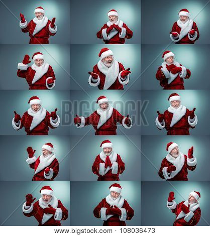 Collage of  Santa Claus different emotions
