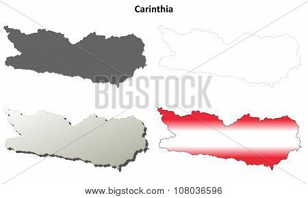Carinthia blank detailed outline map set