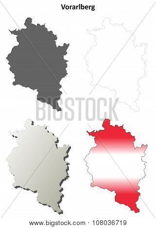 Vorarlberg blank detailed outline map set