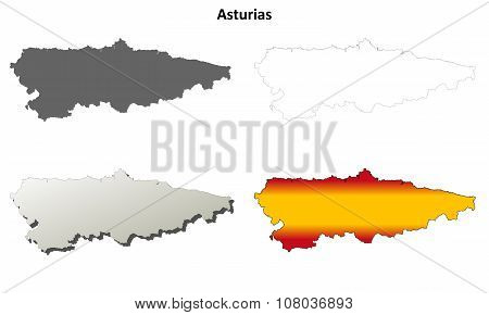 Asturias blank detailed outline map set