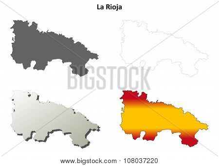 La Rioja blank outline map set