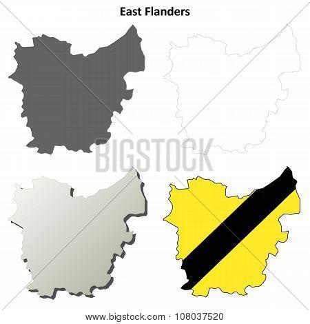 East Flanders outline map set - Flemish version