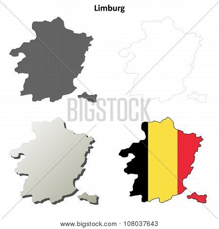 Limburg outline map set - Belgian version