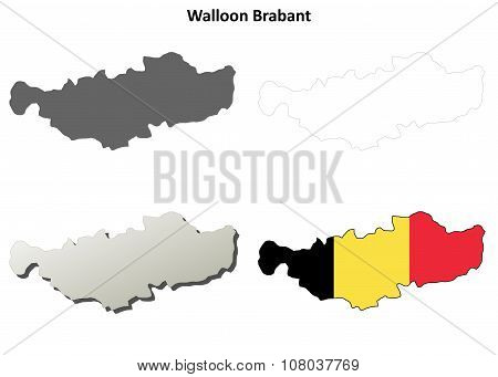 Walloon Brabant outline map set - Belgian version