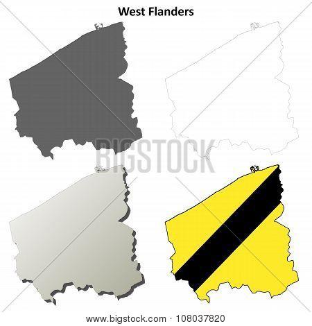 West Flanders outline map set - Flemish version