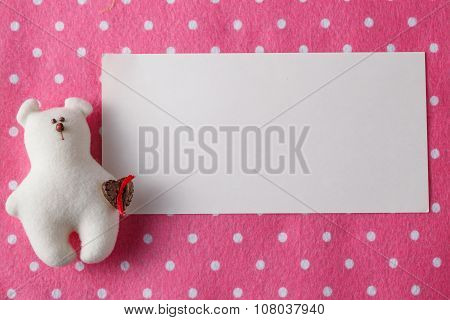 Kid Greeting Card Concept. Felt Doll On Colorful Background