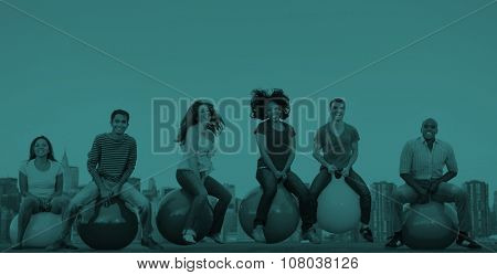 Diverse People Happiness Friendship Bouncing Ball Concept