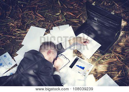 Businessman Sleeping Stress Deadline Working Tired Concept
