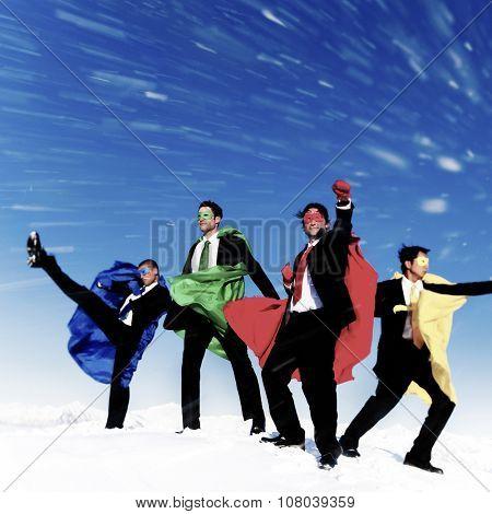 Businessmen Superheros Inspiration Leadership Success Concept