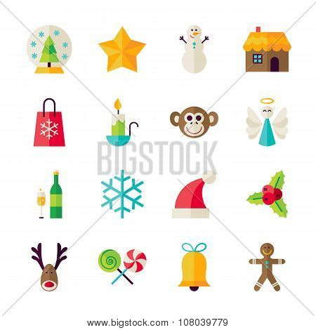 Flat Winter Happy New Year Objects Set Isolated Over White