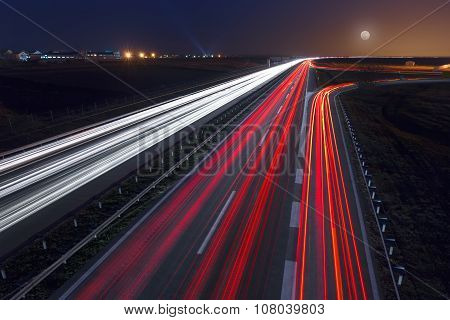 Speed Driving On Highway At Early Night