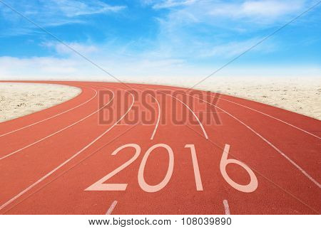 2016 On Red Racing Track With Sand And Blue Sky