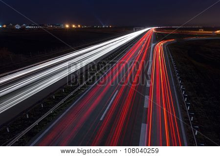 Speed Driving On Highway At Night