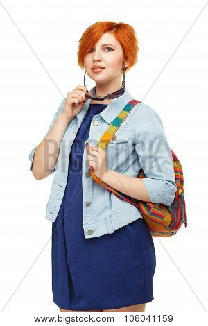 Portrait Of Diligent Girl Student University Or College With Colored Backpack Isolated On White