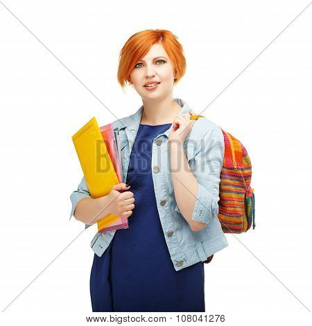 Portrait Of Diligent Girl Student With Folders And Backpack University Or College With Colored Backp