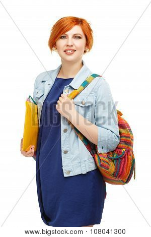 Portrait Of Diligent Girl Student University Or College With Colored Backpack Isolated On White Back