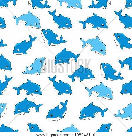 Seamless pattern with cute dolphins