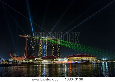 Marina Bay Sands, Singapore November 05, 2015: Beautiful Laser Show At The Marina Bay Waterfront, Si