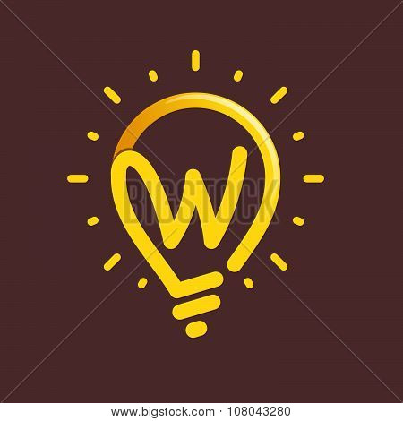 W Letter With Light Bulb Or Idea Icon.