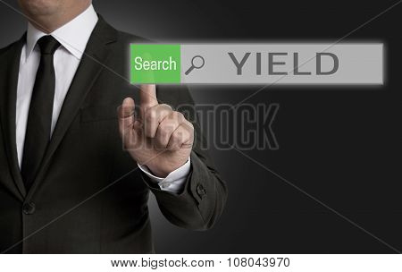 Yield Browser Is Operated By Businessman Concept