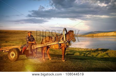Horse Man Sitting Horse Cart Rural Remote Suburb Concept