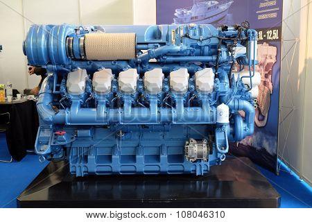 ZAGREB, CROATIA, FEBRUARY 20, 2015: Modern engine used on marine industry exhibited at the Zagreb Boat Show, on February 20, 2015.