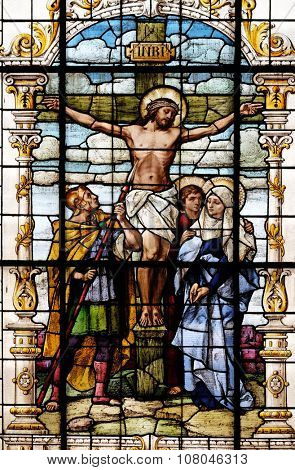 ZAGREB, CROATIA - MAY 28: Crucifixion, Jesus died on the cross, stained glass window in the Basilica of the Sacred Heart of Jesus in Zagreb, Croatia on May 28, 2015