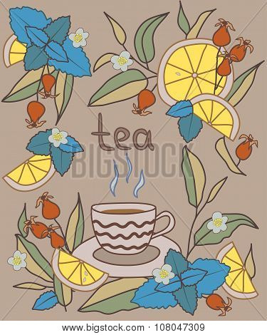 Tea Time. Bright vector illustration.