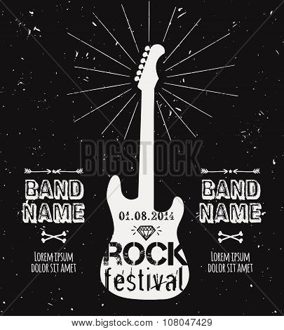 Vector Vintage Guitar Label With Sunburst, Diamond And Typography Elements. Grunge Rock Poster