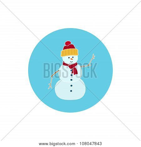 Icon Colorful Christmas Snowman